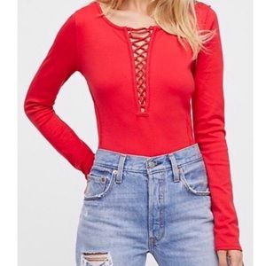 Free People We The Free Red Lace Up Top XS
